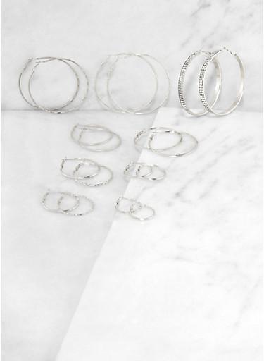 9 Variegated Hoop Earrings,SILVER,large