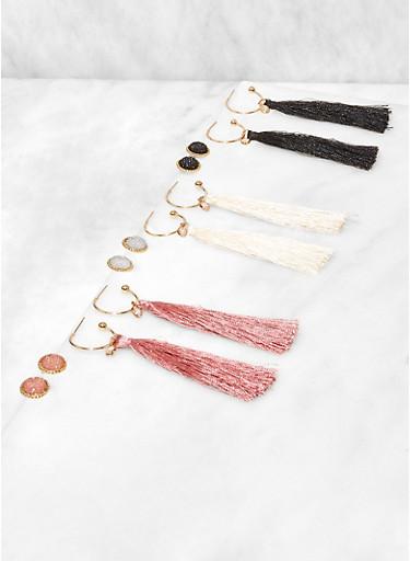 Set of 6 Paved Stud and Tassel Drop Earrings,BLACK,large