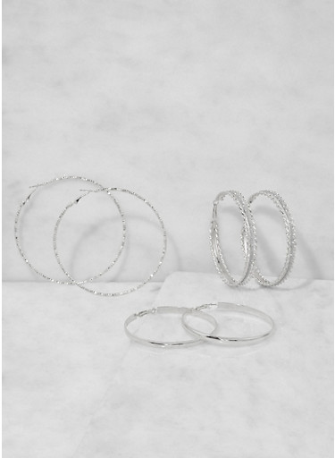 Oversized Hoop Earring Trio,SILVER,large