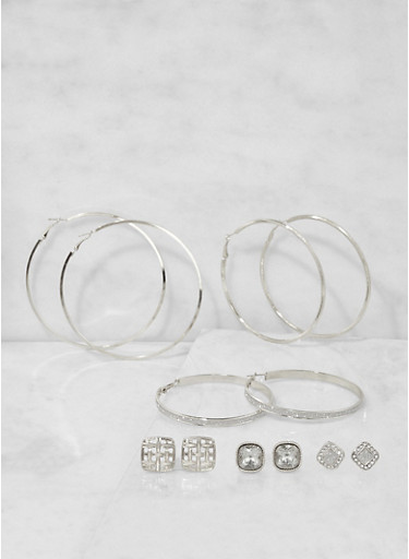 Set of 6 Glitter Hoop and Rhinestone Stud Earrings,SILVER,large
