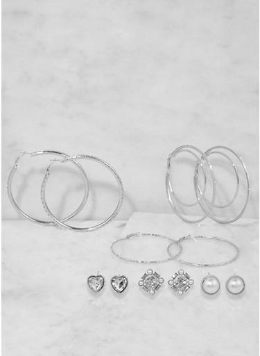 Assorted Stud and Hoop Earrings Set,SILVER,large