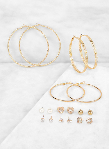 9 Mixed Hoop and Stud Earrings Set,GOLD,large
