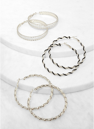 Textured Thread Wrapped Hoop Earring Trio,SILVER,large