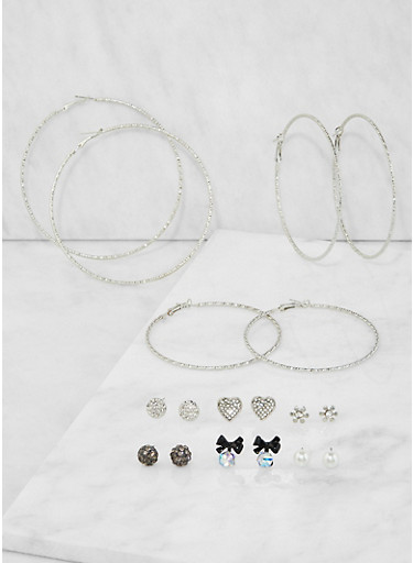 Set of Assorted Stud and Hoop Earrings,SILVER,large