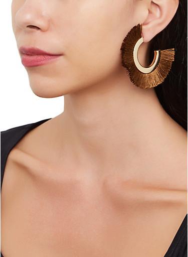 Metallic Fringe Hoop Earrings,TAN,large