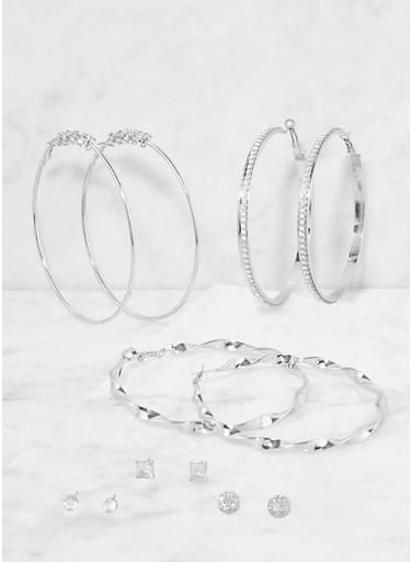 Set of Assorted Stud and Hoop Earrings,SILVER,large