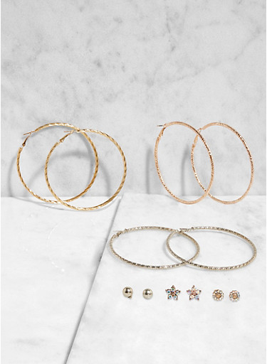 Set of Assorted Stud and Hoop Earrings,TRITONE (SLVR/GLD/HEMAT),large
