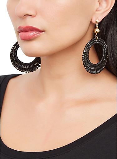 Woven Circular Drop Earrings,BLACK,large