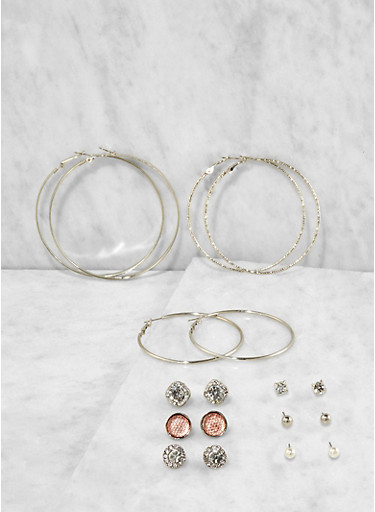 Metallic Hoop and Stud Earrings Set,SILVER,large
