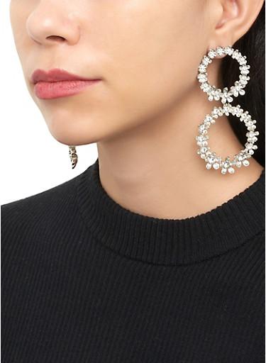 Double Flower Circle Drop Earrings,SILVER,large