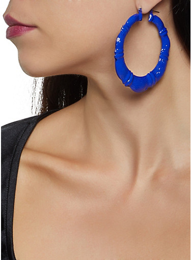 Painted Bamboo Earrings,COBALT,large