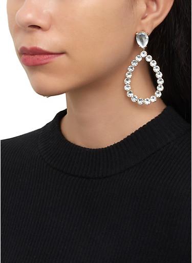 Teardrop Rhinestone Earrings,SILVER,large