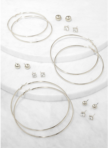 9 Assorted Stud with Hoop Earrings,SILVER,large