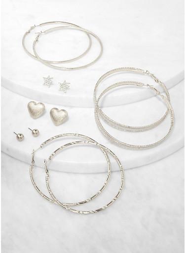 6 Assorted Star Stud and Hoop Earrings,SILVER,large