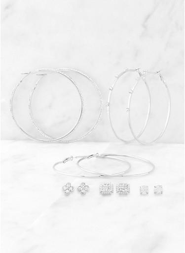 Metallic Rhinestone Stud and Hoop Earring Set,SILVER,large
