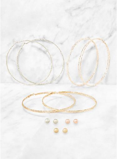 Oversized Hoop and Ball Stud Earrings Set,TRITONE (SLVR/GLD/HEMAT),large