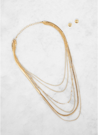 Layered Chain Necklace with Stud Earrings,GOLD,large