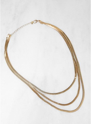 Layered Flat Chain Necklace,GOLD,large