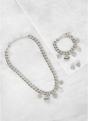 Curb Chain Charm Necklace and Bracelet with Stud Earrings,SILVER,large