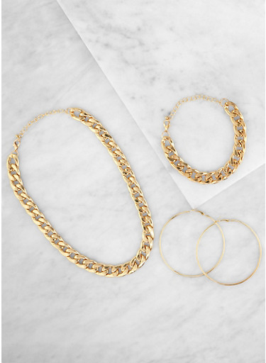 Curb Chain Necklace and Bracelet with Hoop Earrings,GOLD,large