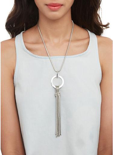 Metallic Tassel Necklace and Stud Earrings Set,SILVER,large