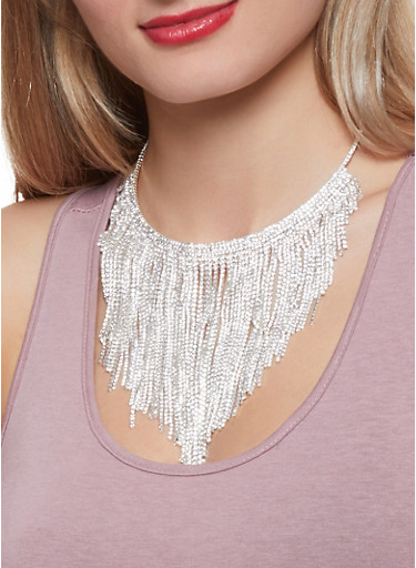 Rhinestone Fringe Collar Necklace with Stud Earrings,SILVER,large