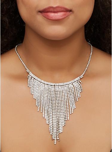 Rhinestone Fringe Bib Necklace,SILVER,large