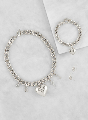 Charm Necklace with Bracelet and Earrings Set,SILVER,large