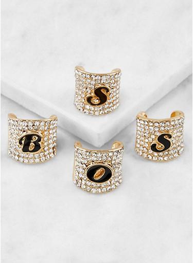 Rhinestone Boss Rings,GOLD,large