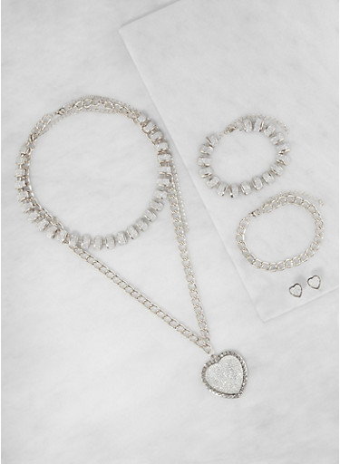 Heart Necklace with Bracelets and Stud Earrings,SILVER,large
