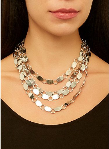 Layered Link Necklace with Bracelet and Earrings,SILVER,large