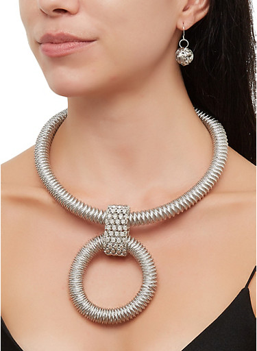 Metallic Coil Necklace with Earrings,SILVER,large
