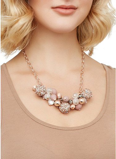 Beaded Necklace and Drop Earrings Set,ROSE,large