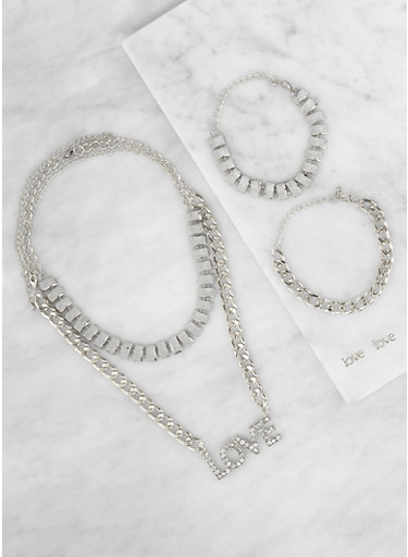 Love Curb Chain Necklaces with Bracelets and Earrings,SILVER,large