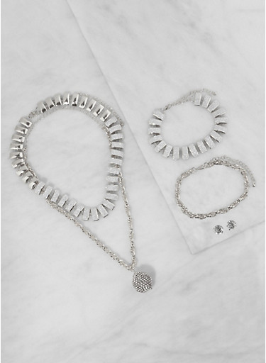 Chain Necklace with Bracelets and Stud Earrings,SILVER,large