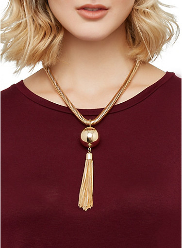 Coil Necklace and Stud Earrings Set,GOLD,large