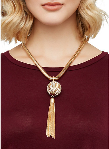 Disco Ball Coil Necklace with Stud Earrings,GOLD,large