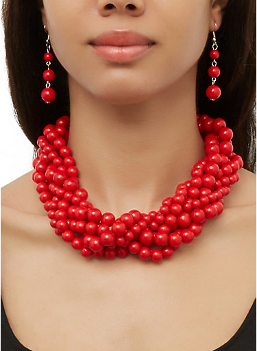 Twist Beaded Necklace and Drop Earrings,RED,large