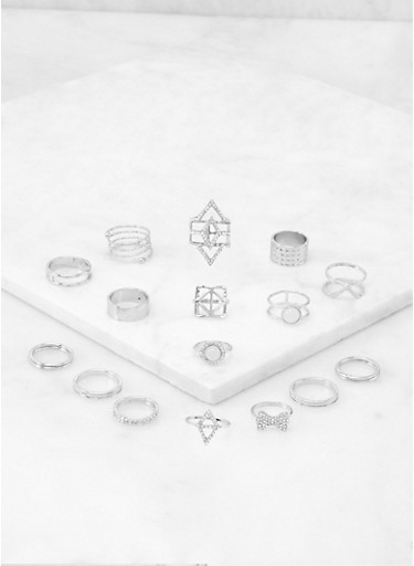 Assorted Metallic Rings Set | 3138062924156,SILVER,large