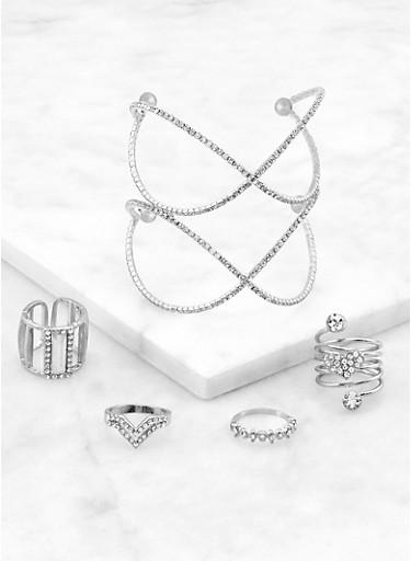 Criss Cross Rhinestone Cuff and Rings,SILVER,large