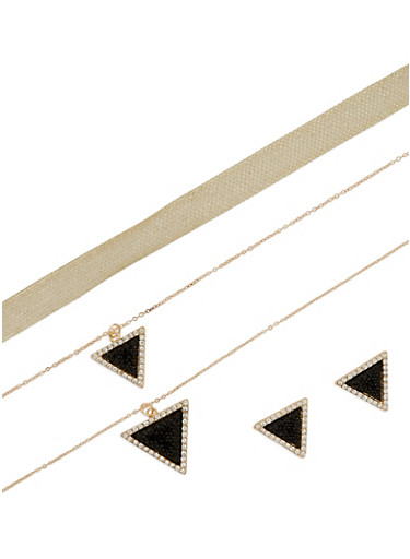 Tiered Triangle Necklace and Earrings with Choker,GOLD,large
