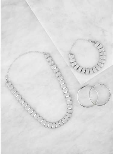 Glitter Necklace and Bracelet with Hoop Earrings,SILVER,large