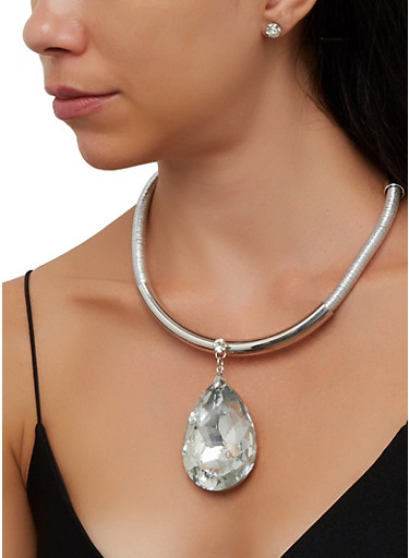Oversized Pendant Coil Collar Necklace with Stud Earrings,SILVER,large