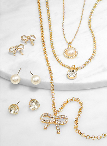 Faux Pearl Bow Layered Necklace with Earrings,GOLD,large