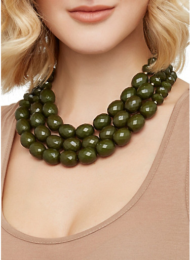 Large Beaded Necklace and Earrings,GREEN,large