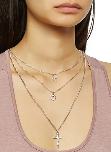 Charm Layered Necklace with Stud Earrings,SILVER,large