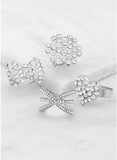 Set of Assorted Rhinestone Rings,SILVER,large