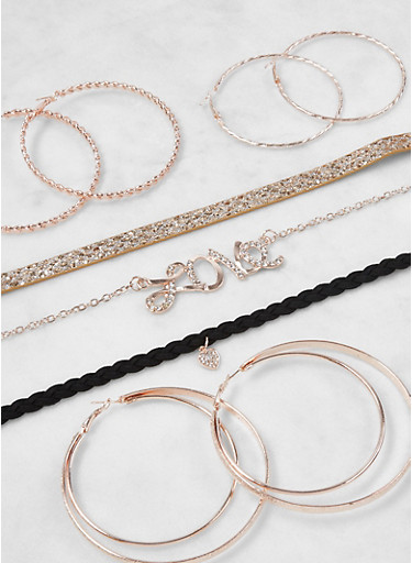 Assorted Chokers and Hoop Earrings Set,ROSE,large