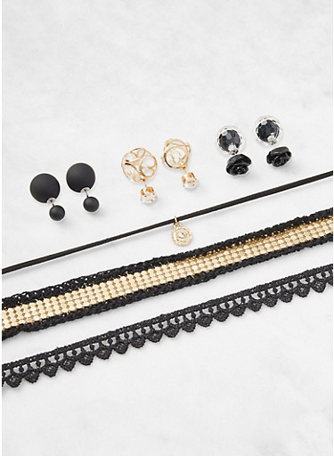 Set of 3 Chokers and Reversible Stud Earrings,BLACK,large