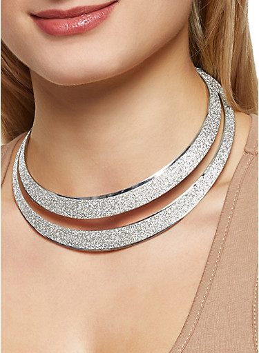 Glitter Collar Necklace with Bangles and Stud Earrings,SILVER,large